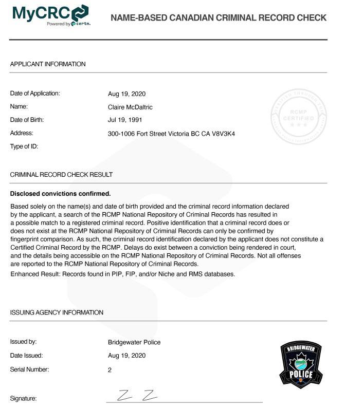 Criminal Record Check Report