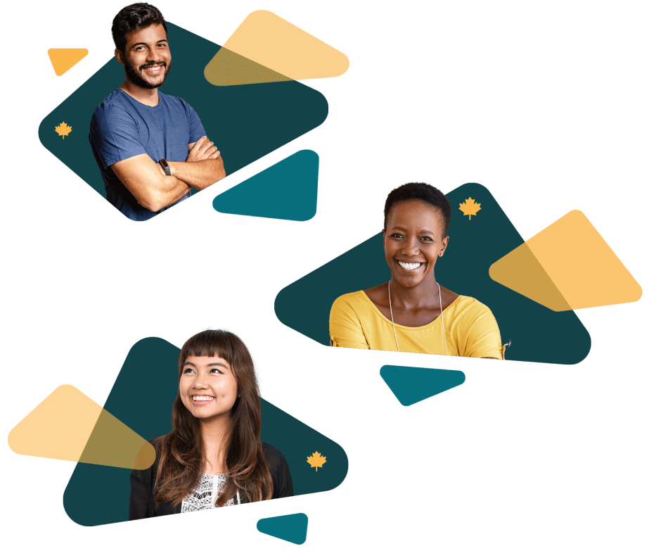 Three smiling people on backgrounds with geometric shapes of teal and yellow, with small yellow maple leaves