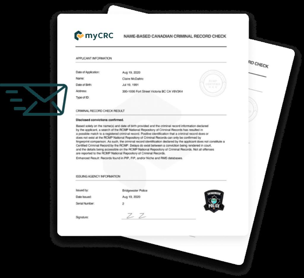A sample myCRC applicant report